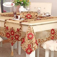 bamboo side table - 1 Piece European Rural Double sided Embroidered Tablecloth Table Cloth Chair Cushion Champagne Table Runner