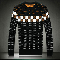 big collar sweater - M XL The new winter men s fashion personality round collar big size printing thickening warm sweater men Ugly Christmas sweater