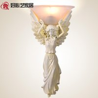 angels glass sculpture - Virgin Mary statue resin wall lamp European retro angel sculpture decorative lights creative characters theme aisle lighting