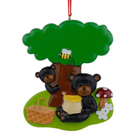 Wholesale Resin Glossy Playing Black Bears Personalized Christmas Ornaments Used For Holiday Keepsake Gifts and Home Decor