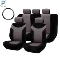 auto steering pad - 10pcs Car Seat Cover Set Anti Dust Mesh Fabrics Auto Cushion Protector Steering Wheel Belt Pads T21474 GR