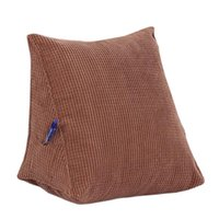bedding wedge - Fluffy Firm Down Alternative Filled Triangle Wedge Cushion Pillow for Bed Sofa Backrest Reading Corduroy Pack of Solid Color