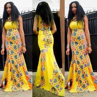 Mesdames élégant jaune Maxi robe de bal sans manches Cut-Out Cœur Imprimé Sirène Robes de soirée Slim-Fit Summer Robes formelles SMRF0903
