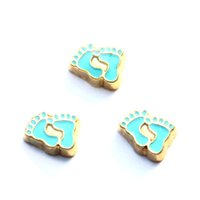 beads for feet - blue baby feet charms floating charms for living locket