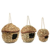Wholesale Natural Parrot Cozy Warm With Artificial Woven Hole Opening Bird Nest Handmade Traw Braid Breeding Birds Nest Pet Toys Supplies