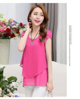 Wholesale 2016 Summer Ladies Fashion Chiffon Lace tee shirts Women Clothing Plus size Casual T shirt xl xl