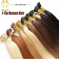 Wholesale Stick Hair I Tip Keratin Hair Extensions g pack g strand Pre Bonded Black Brown Blonde Brazilian Human straight sexy Formula Hair
