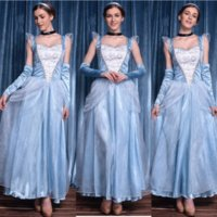 Wholesale Adult Cinderella Costumes Deluxe Light Blue A Line Cinderela Cosplay Shiny Gown Cinderella Dress Cosplay Costume