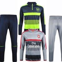 Wholesale 2017 Arsenal Sweater Long Sleeve Grey Jacket Match Grey Pants Training uniform Arsenal Sweater Tracksuit Set Training Suit
