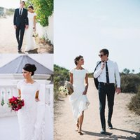 Wholesale Hayley Paige Lace Modest Wedding Dress with Cap Sleeves Kallah Gown Crew Full length A line Beach Country Wedding Party Bridal Dress