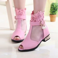 baby girl high heels - New Children High Sandals Baby Girls Lace Sandals Korean Fish Mouth Pu Princess Party Shoes Non slip Kids shoes