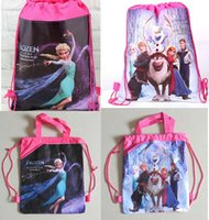 backpack offers - 2016 special offer frozen Anna Elsa Olaf Hans non woven string backpack for kids children s school shoe toy bag Xmas gift