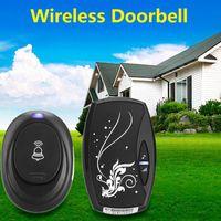 Wholesale Sonnette Sans Fil Waterproof Black Eu Plug in Ac Digital Led Cord Song Music m Range Wireless Remote Control Home Door Bell Doorbell
