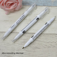 Wholesale 10 Eyebrow Microblading marker pen for microblading practice eyebrow tattoo design eyebrow stencil