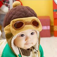 Wholesale Cap Hat Air - Children 's warm winter cap shape glasses cap ears with warm air inside the pilot hat Lei Feng Feng