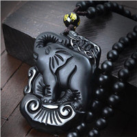 Cheap 2016 New Fashion Manual sculpture natural obsidian elephant pendant New black stone necklace Fine jade jewelry For women men Free rope Fashi