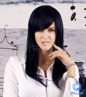 Wholesale New Fashion Anime Girl Neat Bang dance party wig Black and long straight hair wig Cosplay Costume wigs