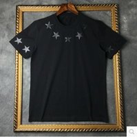 Wholesale High Quality new fashion Black star famous luxury brand given tee t shirts for men women cotton