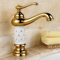 bathroom vanities small bathrooms - Euro Gold finish Luxury Bathroom Basin Faucet small Single Handle with diamond Vanity Sink Mixer water Tap