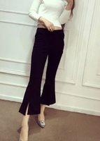 Wholesale Spring summer autumn women s korean fashion solid color vent jag sexy flare pants long trousers plus size SM