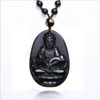 al por mayor guan yin del jade-Colgante natural de la manera del collar de la obsidiana Pendiente negro de Ruyi Guan Yin para la joyería fina del jade de la vendimia de los hombres adorna 55 * 35m m