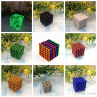 Wholesale 216Pcs mm NdFeB Magic Buckyballs Cube Silver Gold Fluorescent Green Blue Red Black White Colours Magnetic Balls Magic Cube With Box