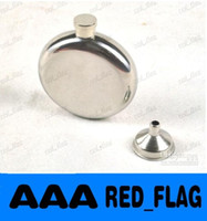 Wholesale 5 oc Mirror Smooth Men Portable Stainless Steel Portable Round Flagon Small Funnel Hip Flasks LLFA