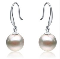 Wholesale natural MM AAA perfect roun south sea white pearl earrings K