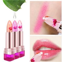 Wholesale 2016 Temperature Change Color Lip Balm Color Waterproof Long lasting Sweet Transparent Jelly Flower Pink Moisturizer Lipstick