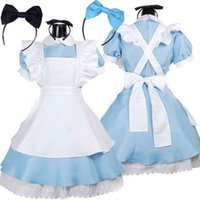 Wholesale 2016 Autumn Hot Sale Alice in Wonderland Costume Lolita Dress Maid Cosplay Fantasia Carnival Halloween Costumes for Women