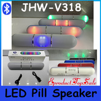 Wholesale New Pulse Pills Led Bluetooth speaker JHW V318 Wireless Portable MP3 Player Bulit in Mic Handsfree speaker Support FM USB In Stock