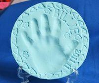 baby fingerprint kit - 6 Colors baby care Air Drying Soft Clay Baby Handprint Footprint Imprint Kit Casting Parent child hand inkpad fingerprint