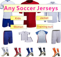 Wholesale all soccer product mans womans kids thai soccer jerseys pants socks polo shorts jacket and sweater tracksuit long sleeve uniforms
