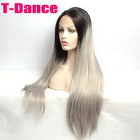 Cheap Synthetic Lace Front Wig sexy Black T Grey Hand Tied Glueless high density Heat Resistant fiber perruque front lace party wig