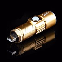 Wholesale USB Handy LED Torch usb Flash Light Pocket LED Rechargeable Flashlight Zoomable Lamp For Hunting Black Gold