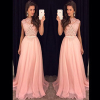 Wholesale 2016 Fancy New Pink Chiffon Long Prom Dresses Illusion Lace Top Flow Chiffon Floor Length Evening Vestidos De Fiesta Party Dresses with Belt