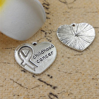 awareness logos - 18 MM quot childhood cancer quot word charms DIY alloy ancient silver jewelry accessories children love cancer awareness ribbon Logo heart Pendant