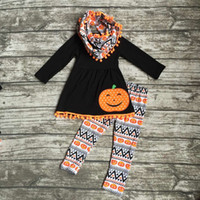 aztec print scarf - 2016 Halloween FALL Winter baby girls OUTFITS pieces scarf smile face top Pumpkin print orange Aztec pant boutique clothes set