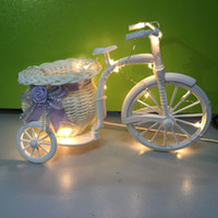 bicycle wire basket - 1X Handmade White Bicycle Shaped Bike with Flower Basket Copper wire Led String light Wedding Party Table Decoration Gift
