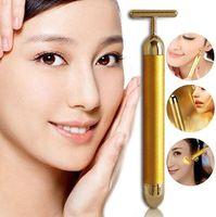 bar pouch - Energy Beauty Bar Waterproof K Gold Pulse Firming Massager Roller Facial Eye Pouch Remover Face Care Kit Beauty Roller