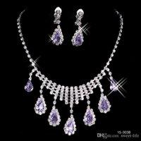 al por mayor descuento collares de diamantes-Descuento grande 2016 Nuevo collar y aretes de plata plateado Diseñador diamantes de imitación de tarde del diamante de los brazaletes de accesorios de novia joyería 15003A