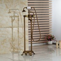 bathtub legs - Free Standing Antique Brass Floor Mounted Bathtub Mixer Tap Faucet W Hand Shower Legs