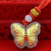 Wholesale Boutique pendant hot style Hetian white jade K gold pendant necklace D thick gold butterfly size cm cm cm couple lover