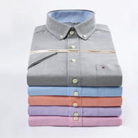 Wholesale 2016 Summer New Fashion Short Sleeve Men s Oxford Casual Slim Shirts Solid Color Man Business Shirts Wash and wear of shirt Colors