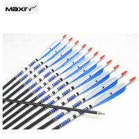 archery arrow length - 6 pc Real Turkey Feather Fletch Carbon Arrows with Length quot Spine for Hunting Archery for Compound and Recurve Bow E