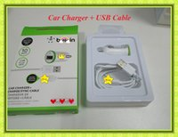 Wholesale Car Charger USB Box Car Charger Sync Cable USB Sets For Samsung HTC iPhone S Plus With Retail Box
