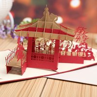 architecture logo - 3D Three dimensional Originality Hollow Out Architecture Greeting Card Business Affairs Can Jing LOGO Customized decoupage Greetings