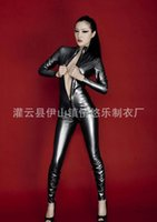 Wholesale Sexy Lingerie V neck Black Pierced Latex Erotic Bodysuit Pu Sexy Women Costumes Jumpsuits Faux Leather Clothing Clubwear Costumes