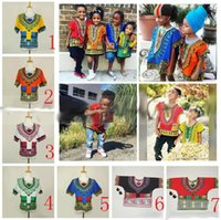 Wholesale African Dashiki Dresses Children Kids African Clothes Hippie T Shirt Caftan Vintage Tribal Mexican Top Riche Ethnic Clothing