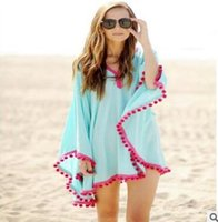 Wholesale Fashion Beach Covers Chiffon Dress Summer Beach Dress Tassel Chiffon Beach Cover ups Bikini Swimsuit Coverup Blue and White
